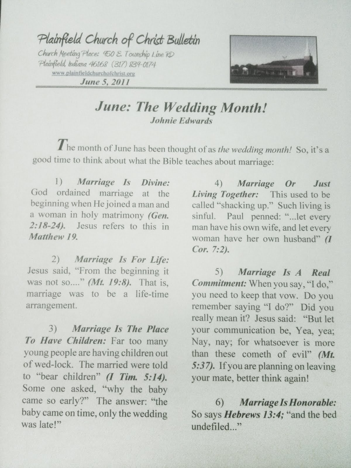 Plainfield Church Of Christ Weekly Bulletins