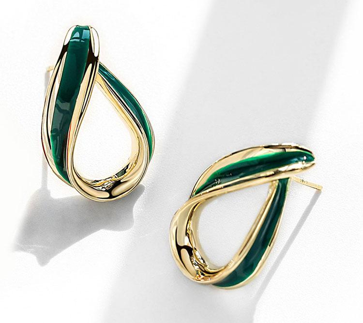 綠.簡約風滴釉耳環