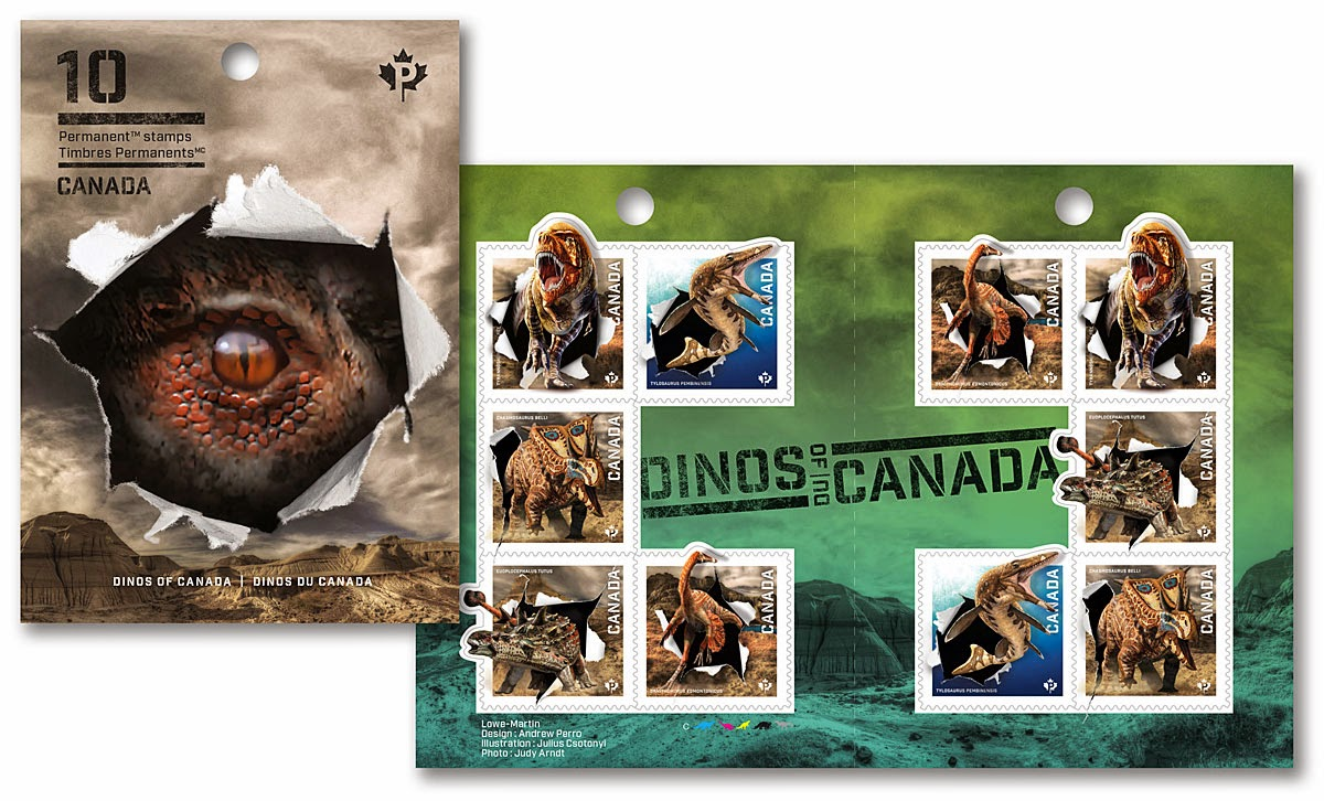 CANADA POST PRODUCT # 413979111  DINOSAURS: Permanent™ DOMESTIC STAMPS - BOOKLET OF 10