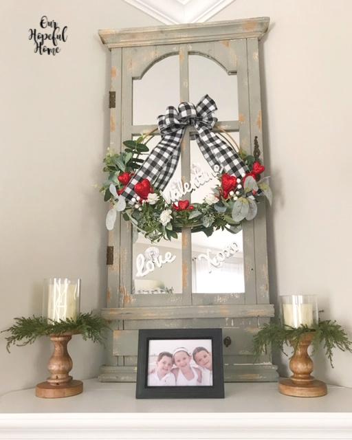 Valentine's wreath mantel decor