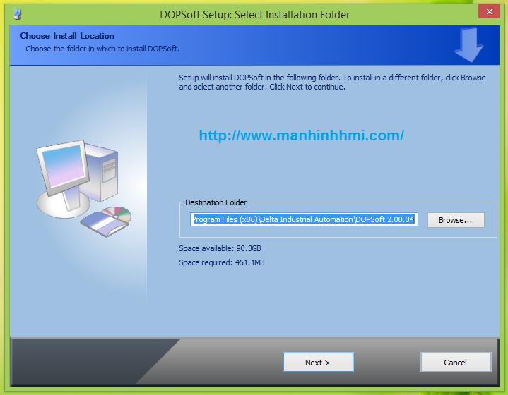 Cách cài đặt, lựa chọn đường dẫn lưu trữ khi cài đặt phần mềm DOPSoft lập trình cho HMI Delta DOP-B Series