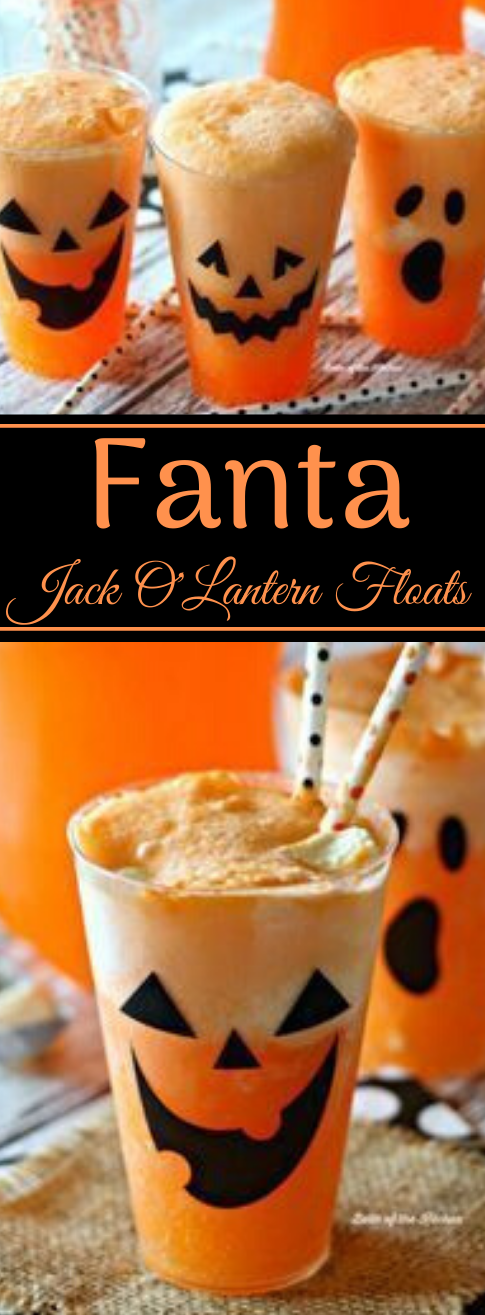 FANTA JACK O'LANTERN FLOATS #fanta #drink #easy #recipes #party
