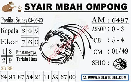 Prediksi Togel Sydney Rabu 03 Juni 2020 - Syair Mbah Ompong