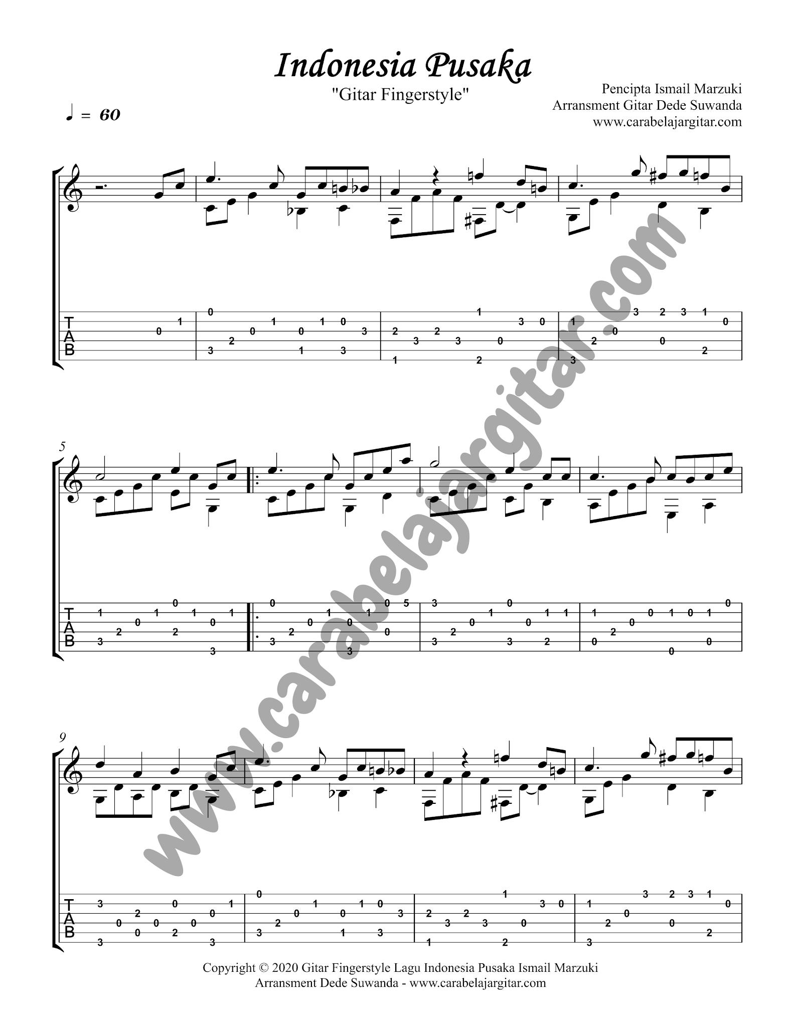 lagu indonesia pusaka gitar fingerstyle tab