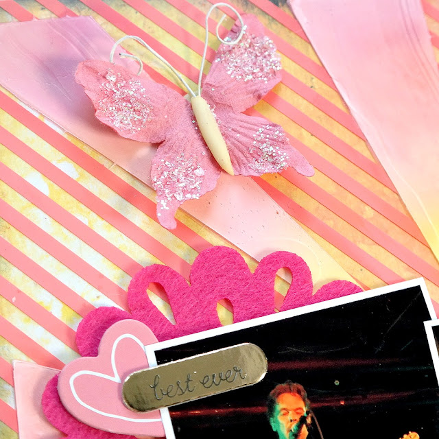 Glittered Pink Embellishments on a Sunset Colored Scrapbook Layout