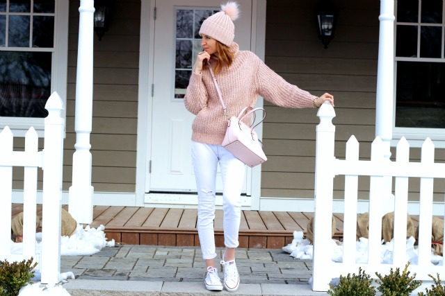 Winter white and blush pink