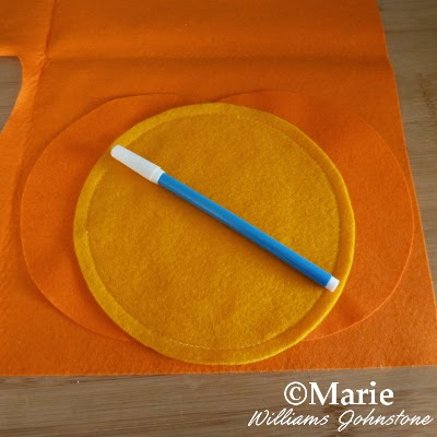Orange fabric and water soluble marker pen