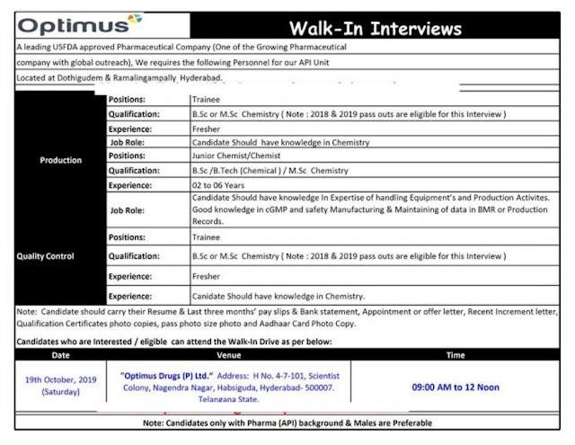 Optimus Drugs Pvt. Ltd - Walk-In Interviews for Freshers and Experienced - Production / Quality Control /Operators on 19th Oct' 2019