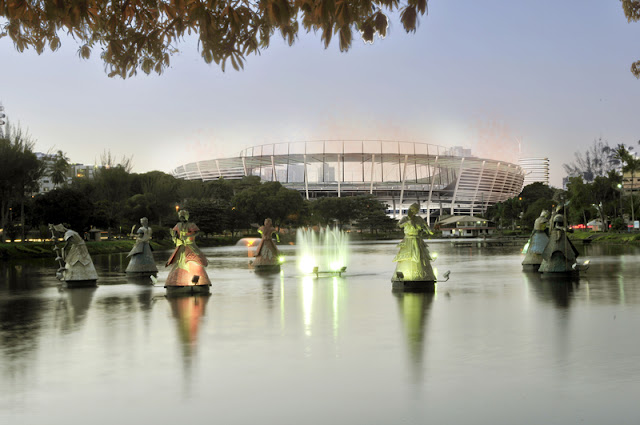 Vista do Dique do Tororó e ao fundo a futura Arena Fonte Nova