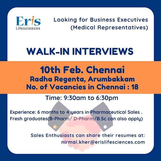 Eris life sciences | Walk-in for MRs on 10&11 Feb 2020 at Chennai & Mumbai