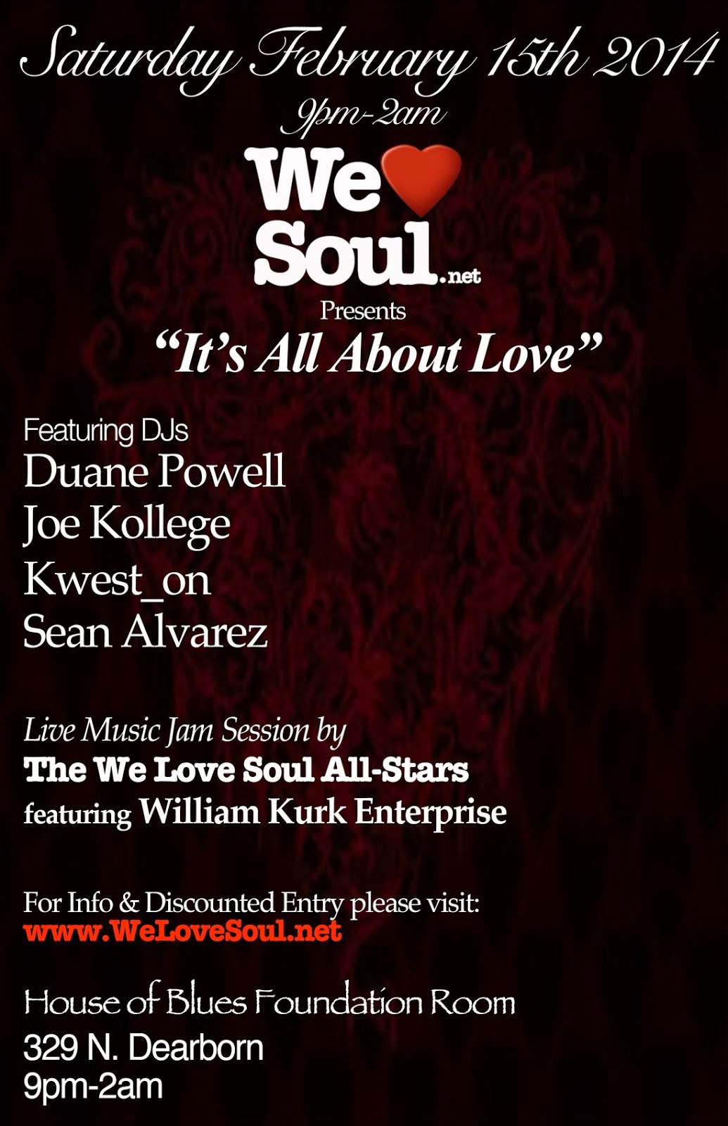 Sat Feb.15: We Love Soul presents It's All About Love