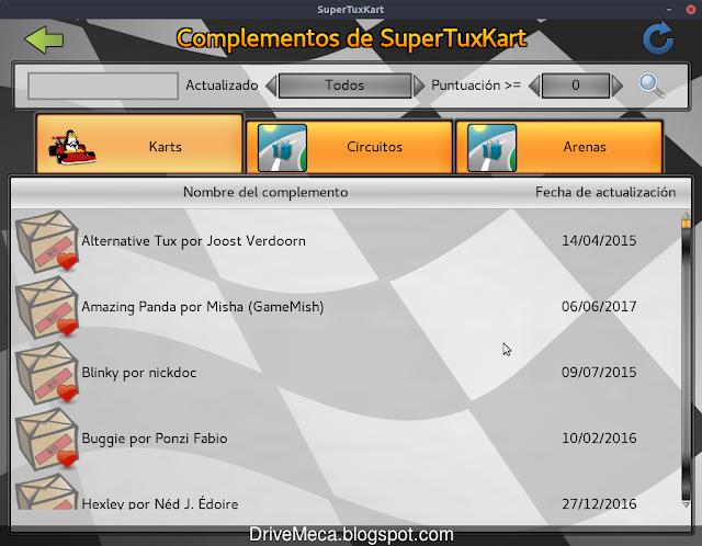 Podemos descargar complementos, circuitos y arenas en SuperTuxKart
