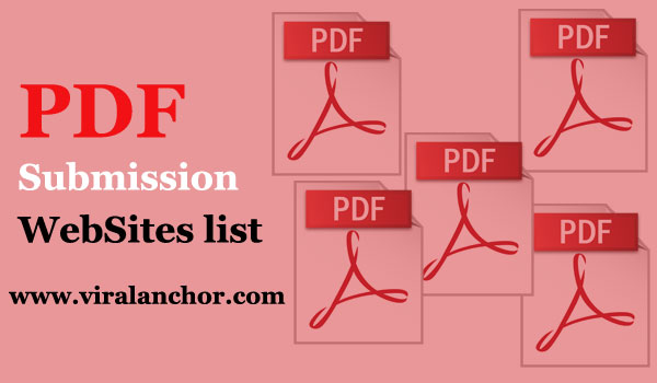 Top 40+ High PR Free PDF Submission Sites list for 100% Ranking