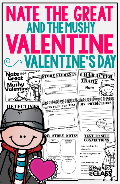 Nate the Great and the Mushy Valentine book study companion activities. Perfect for Valentine's Day! Packed with fun ideas and guided reading literacy activities. Common Core aligned. Grades 1-2. #natethegreat #valentinesday #bookstudy #bookstudies #literacy #guidedreading #1stgrade #2ndgrade #bookcompanion #bookcompanions #1stgradereading #2ndgradereading #valentinesdaybooks #novelstudy #novelstudies