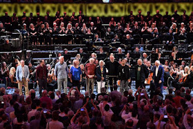 Martyn Brabbins with nine of the composers contributing to his Proms' birthday celebration piece (photo: Chris Christodoulou)