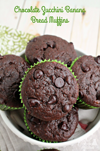 These super moist & dense Chocolate Zucchini Banana Bread Muffins are the perfect way to use up that summer zucchini.