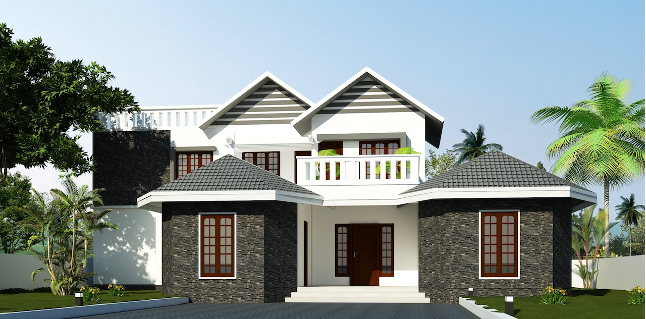 Colonial mixed style residence Cottage type front view