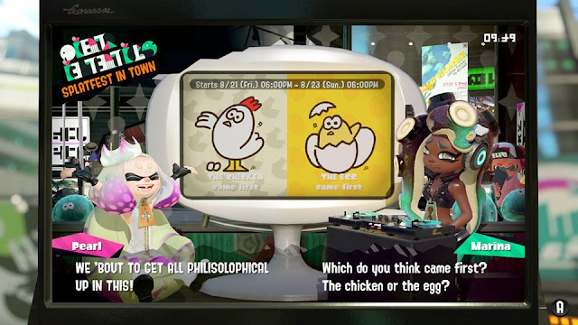Splatoon 2 encore Splatfest repeat Chicken Egg came first philisolophical