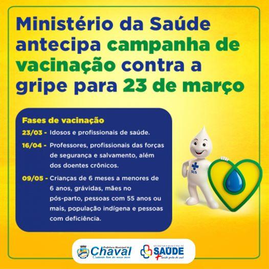 Vacinação em Chaval | Campanha de combate a gripe começa nesta segunda-feira (23).