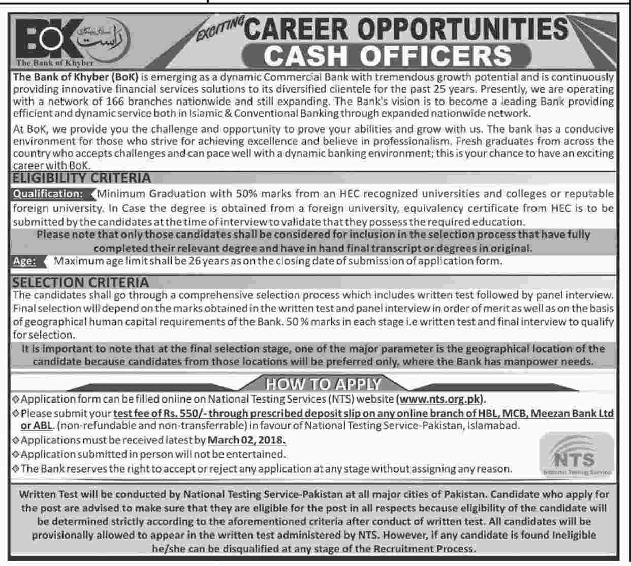Cash Officers Jobs in The Bank Of Khyber  Feb 2018