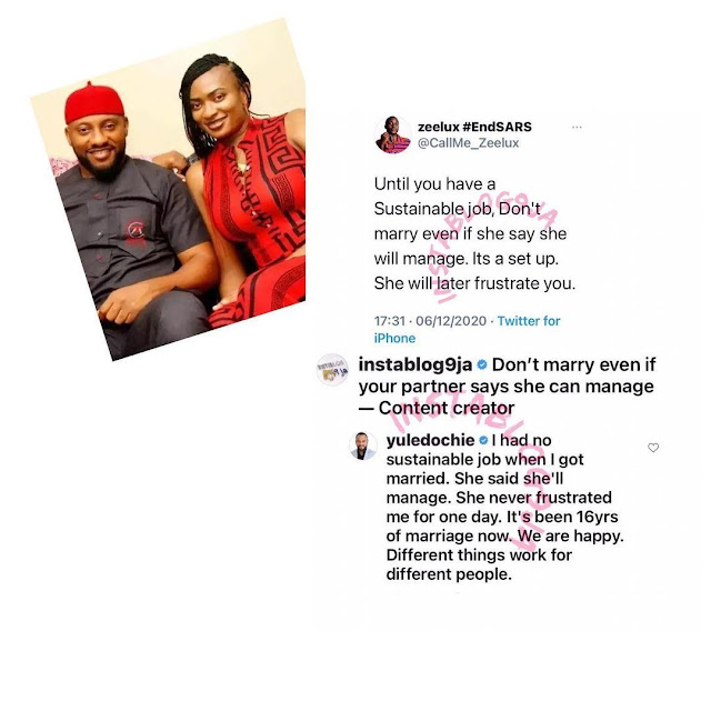 'I Was Jobless When I Got Married To My Wife And She Didn't Frustrate Me' - Yul Edochie