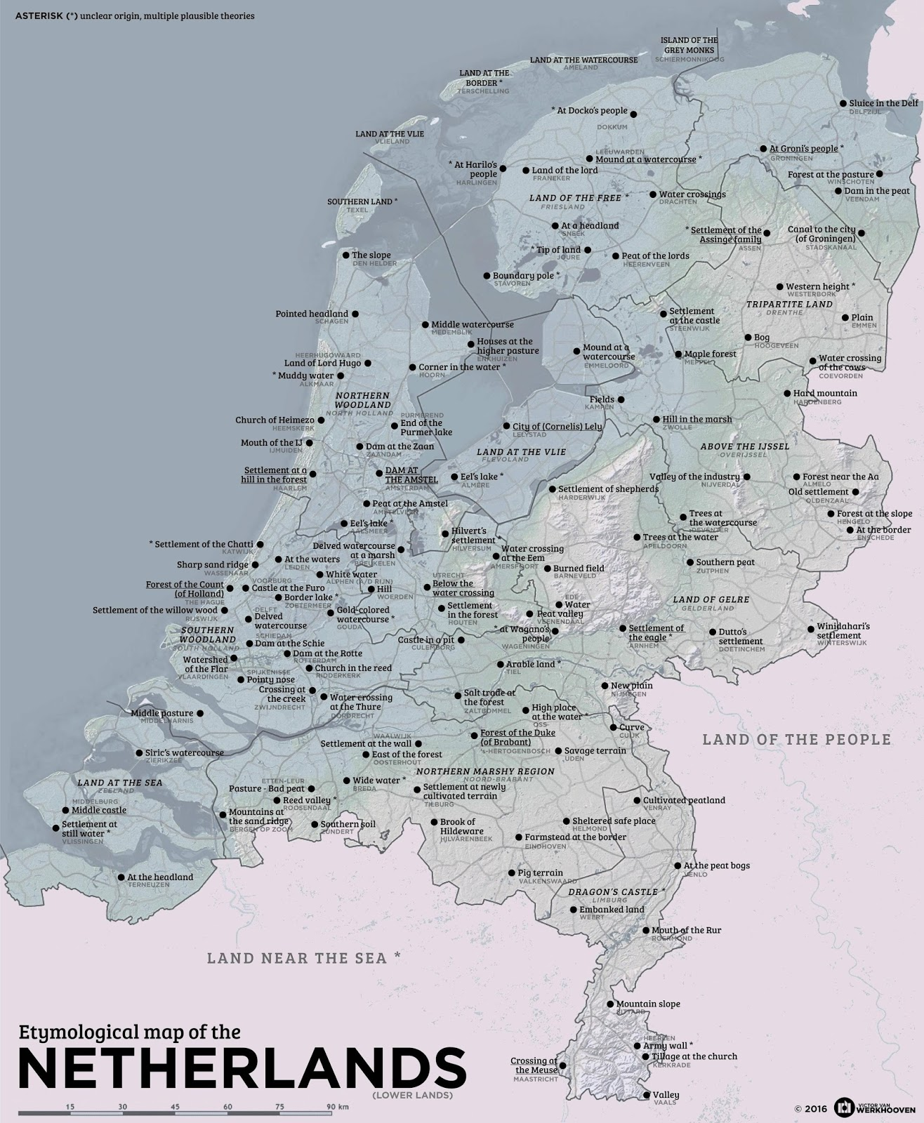 Etymological map of the Netherlands