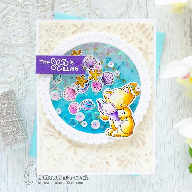 Seashell Shaker Card with Cat by Tatiana Trafimovich | Newton's Seashell Stamp Set and Seashells Stencil by Newton's Nook Designs #newtonsnoo
