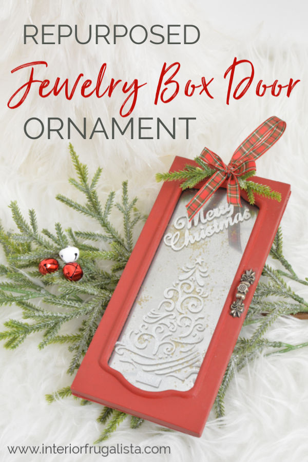 DIY Repurposed Jewelry Box Door Holiday Ornament