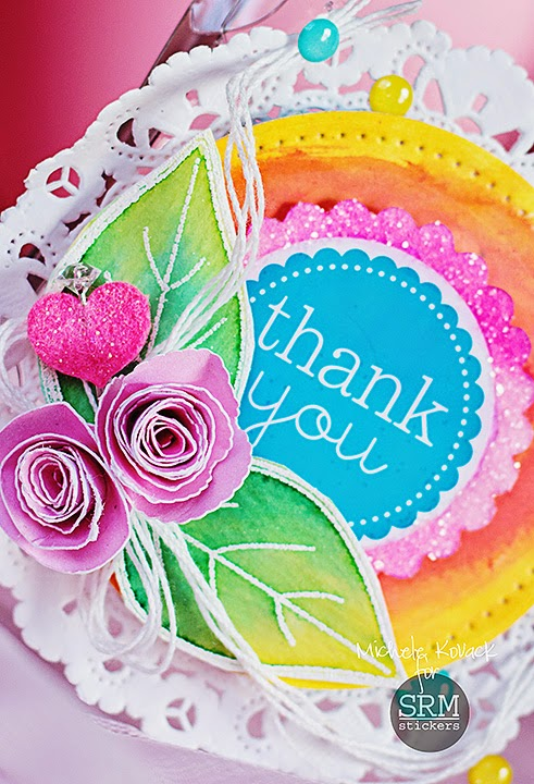 SRM Stickers Blog - Colorful Clear Purse by Michele - #clearpurse #containers #gift #thankyou #doilies #stickers #punchedpieces