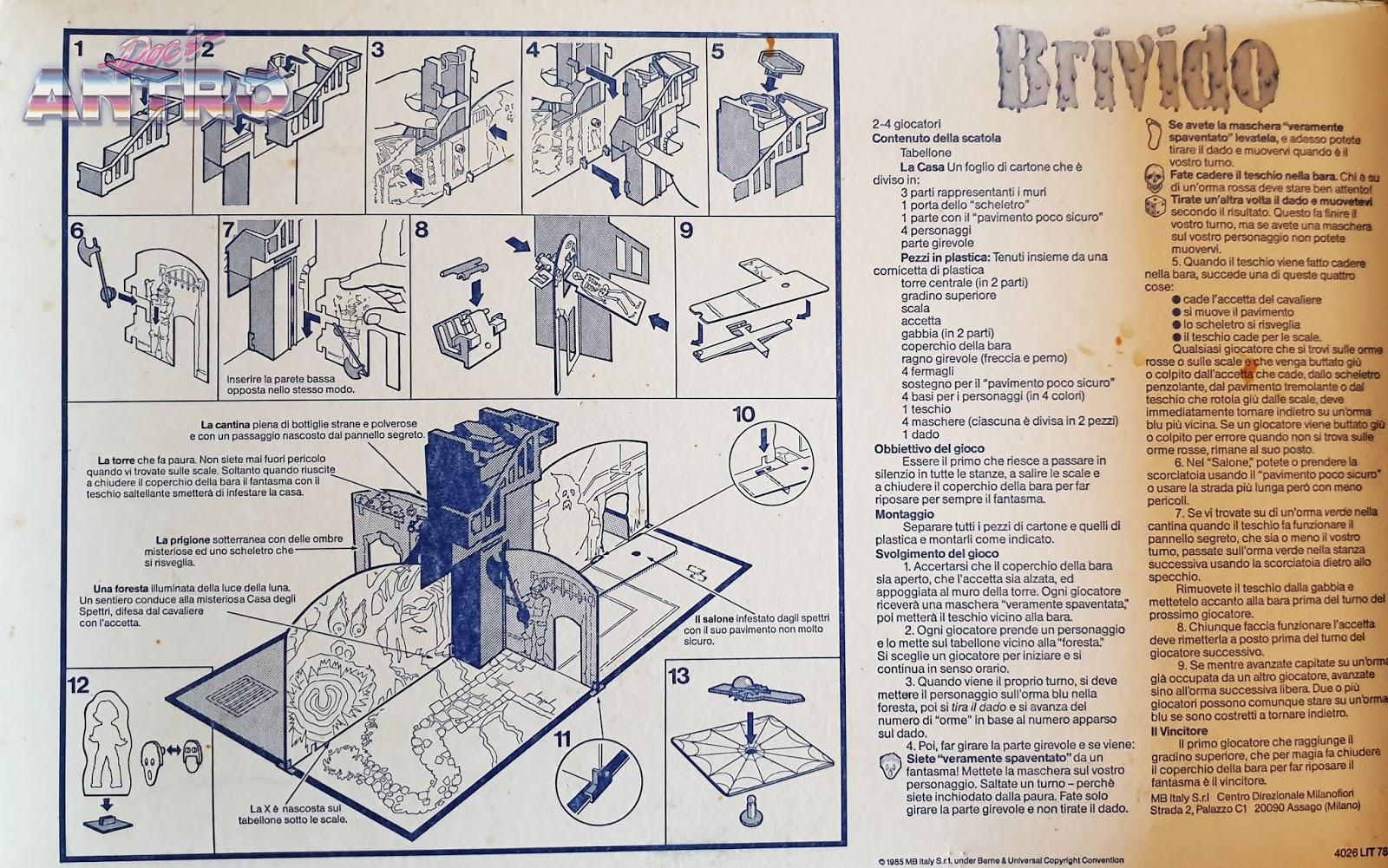 Brivido MB antro regolamento gioco da tavolo 1985