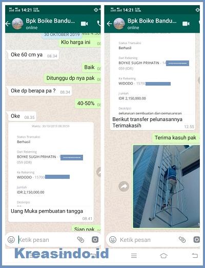 Tangga Monyet Stainless pesanan Bpk Boyke di Grand Sharon Residence Bandung