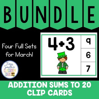 Addition Sums to 20 Clip Cards March Bundle