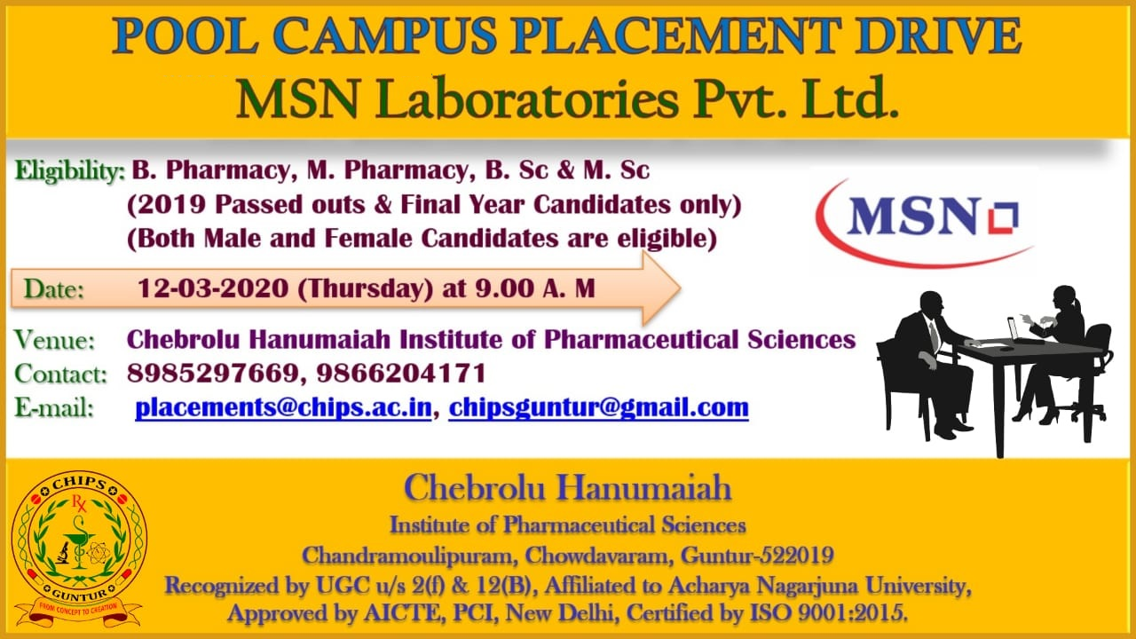 MSN Laboratories Pvt. Ltd - Pool Campus Drive for B.Pharm | M.Pharm | B.Sc | M.Sc Freshers on 12th Mar' 2020