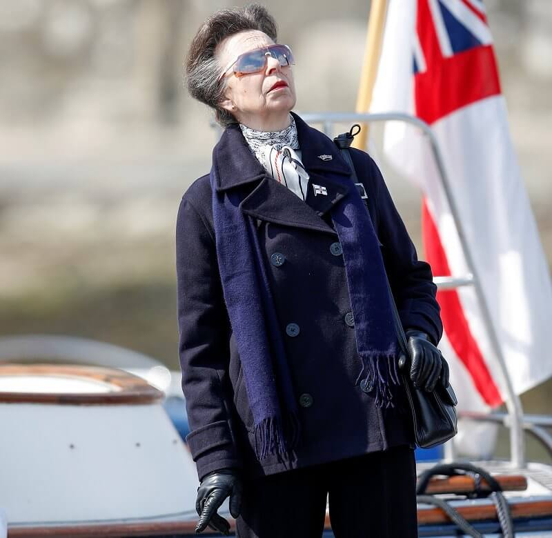 Prince Philip was Admiral of Royal Yacht Squadron. Princess Royal wore a navy jacket and black trousers