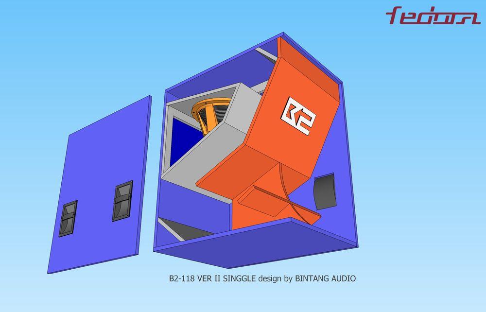 Tampak bawah samping skema box Folded Horn 18 Inch
