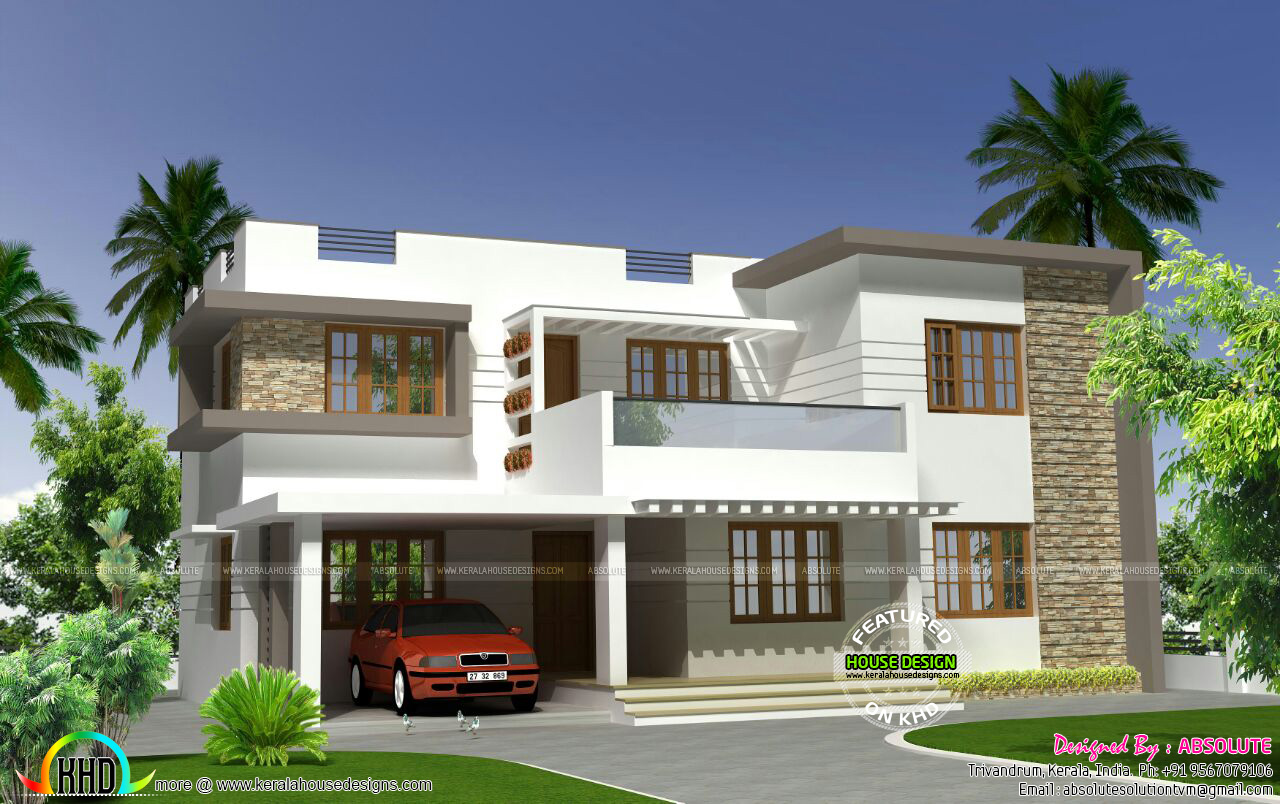 2250 sq ft modern flat roof 4bhk home kerala home design for Flat roof house plans kerala