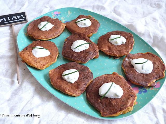 Blinis aux carottes et chorizo et crème au yaourt - Dans la cuisine d'Hilary