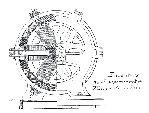 """Dynamo Electric Machine"" (end view, partly section, U.S. Patent 284,110) http://en.wikipedia.org/wiki/Dynamo#/media/File:DynamoElectricMachinesEndViewPartlySection_USP284110.png"