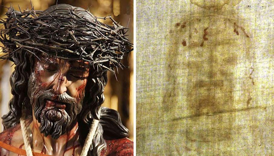 Santo Sudario à direita. Rosto de Cristo em Sevilha, à esquerda, da Irmandade da Lançada, (artista Juan Manuel Miñarro)