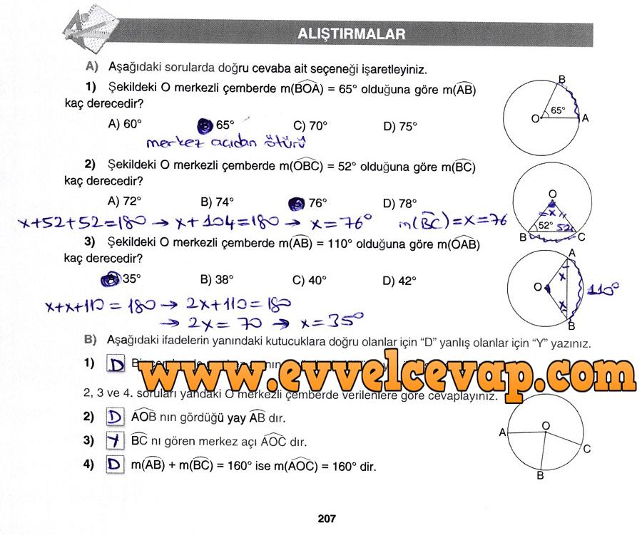 7. Sınıf Gizem Yayınları Matematik Ders Kitabı 207. Sayfa Cevapları Çember ve Daire