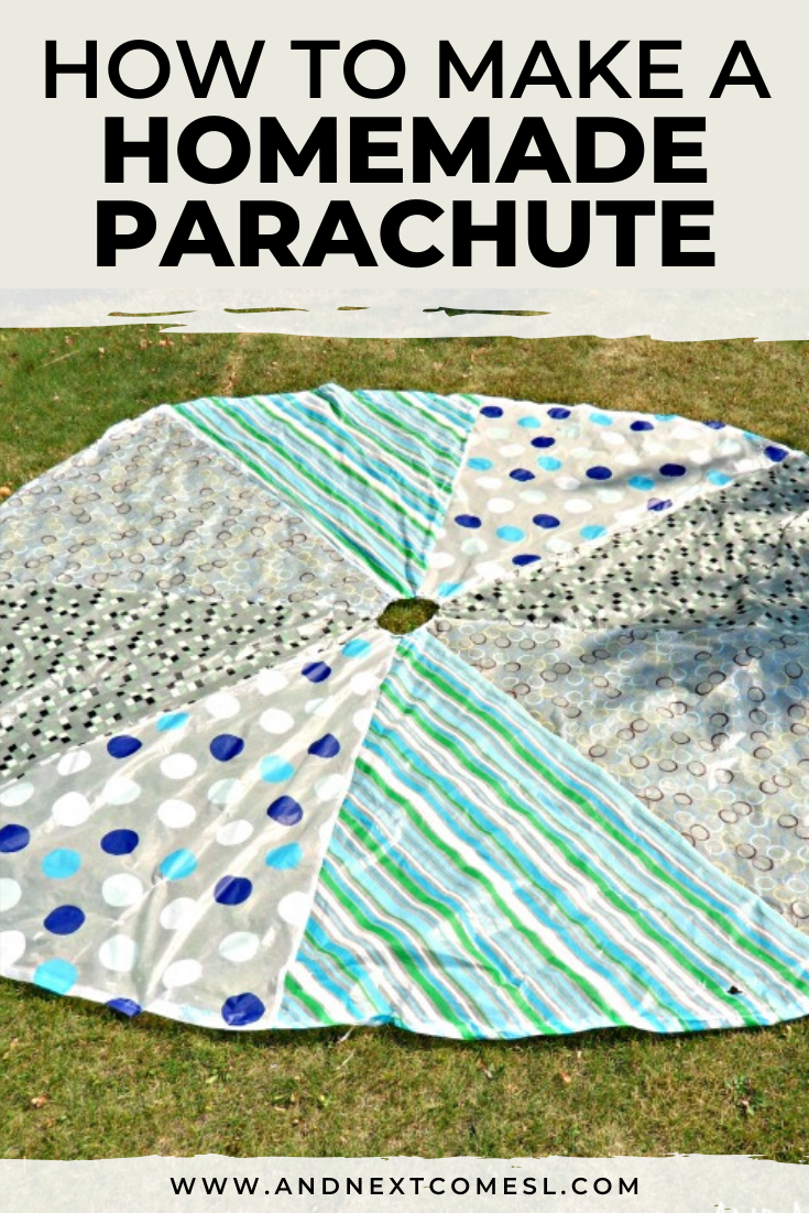 Tutorial for a big DIY parachute for kids - find out how to make a homemade parachute using dollar store materials