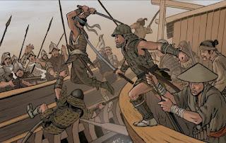 Asalto piratas japoneses a la galera española en 1582