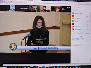 Town Clerk Nancy Danello provides an update to the Council meeting