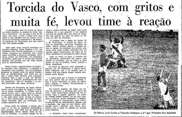 Torcidas do Vasco  FORÇA JOVEM E TOV 1976  TORCIDA DO VASCO f05f9e06207ea