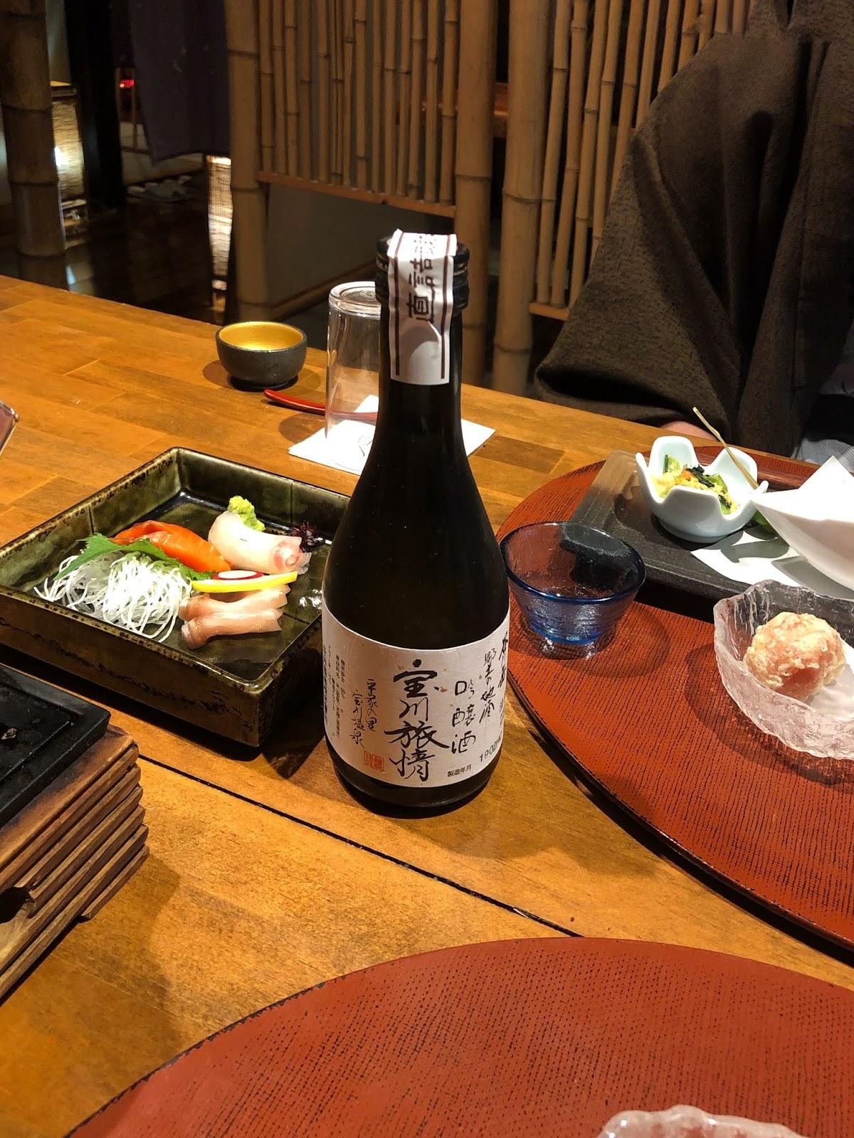 Kaiseki dinner, sake tasting, sashimi course, Biggest open-air bath onsen in Japan. Takaragawa Onsen, Minakami Gunma, Japan / FOREVERVANNY.com