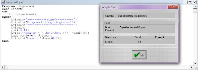 Cara Membuat Program Hitung Lingkaran di Pascal