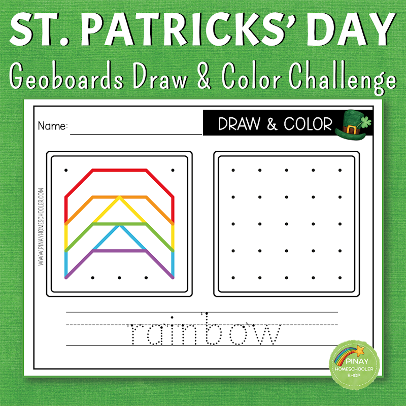 St. Patrick's Day Themed Geoboard Draw and Color Game