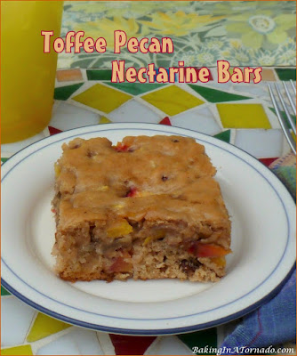 Toffee Pecan Nectarine Bars, lower in fat and sugar than most dessert bars while still satisfying that sweet tooth. A perfect summer treat. | Recipe developed by www.BakingInATornado.com | #recipe #bake