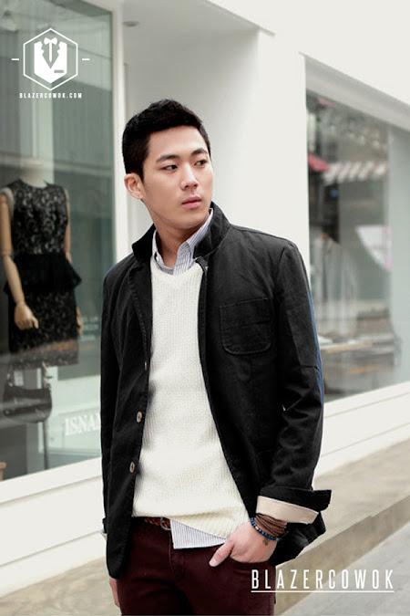 blazer cowok blazercowok.com jaket korean jas pria sk42 black a