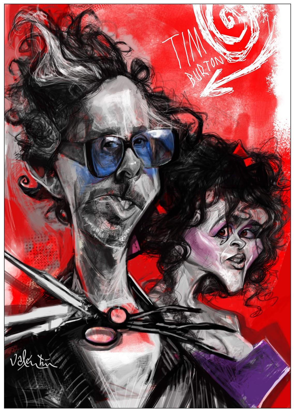 """""""Tim Burton y Helena Bonham-Carter"""" por Valentin Chibrit"""